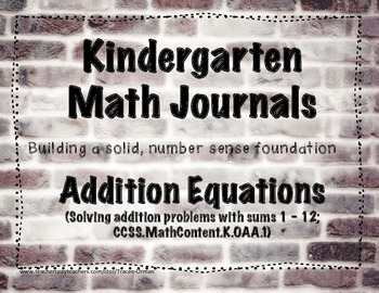 Kindergarten Math Journals - Addition Equations
