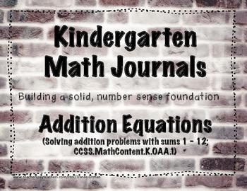 Kindergarten Math Journals - Addition Equations