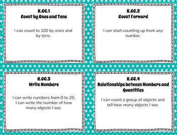 Kindergarten Math Kid-Friendly I CAN Statements for Common Core State Standards