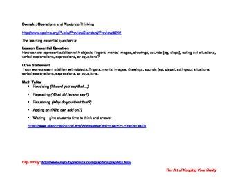 Kindergarten Math Lesson Plan CCS MAFS.K.OA.1.1