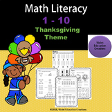 Thanksgiving Math Literacy Numbers 1 to 10, NO PREP