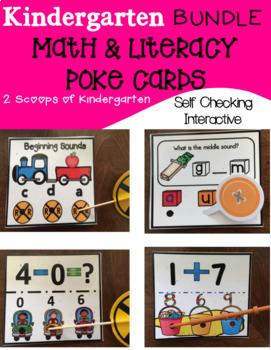 Kindergarten Math & Literacy Poke Cards Bundle