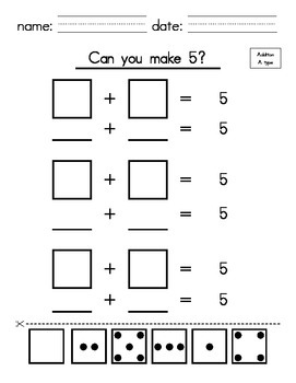 Kindergarten Math - Make 5 with Addition (cut and paste)