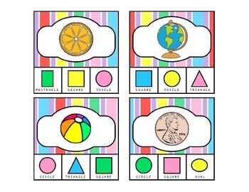 Kindergarten Math - Matching 2D Shapes with Real Life Objects Clip Cards Set