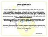 Kindergarten Math Menu- Sequence, Patterns, Calendar