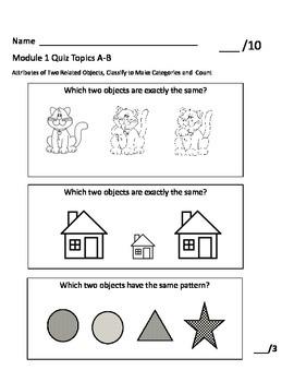 Kindergarten Math Module 1 Quiz Topics A-B