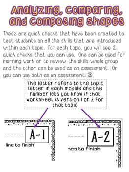 Kindergarten Math Module 6 Quick Checks