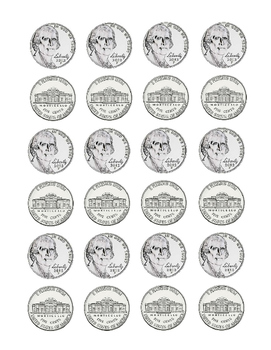 Kindergarten Math Money Counting Page of Nickels Tools for Common Core Printable