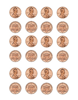 Kindergarten Math Money Counting Page of Pennies Penny Front Back Cut Printable