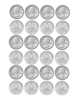 Kindergarten Math Money Counting Page of Quarters Tools for Common Core Print