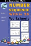 Number Sequence within 20 Worksheets for Kindergarten