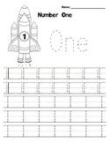 Kindergarten Math - Numbers 0-5 - Printing Practice - Space Theme