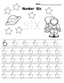 Kindergarten Math - Numbers 0-9 - Printing Practice - Space Theme