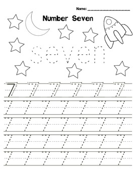 Kindergarten Math - Numbers 6-9 - Printing Practice - Space Theme