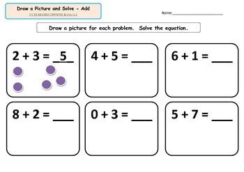 Kindergarten Math-Operations & Algebraic Thinking A.1-A.3-Add, Subtract