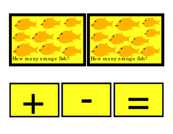 Kindergarten Math Orange Fish How Many Addition Numbers To 10 Printable Cards 3p