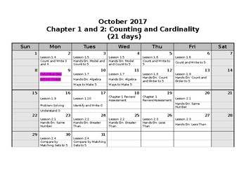 Kindergarten Math Pacing Calendar
