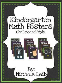 Kindergarten Math Posters - Chalkboard Style