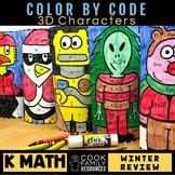 Kindergarten Math Practice | Winter Color by Code