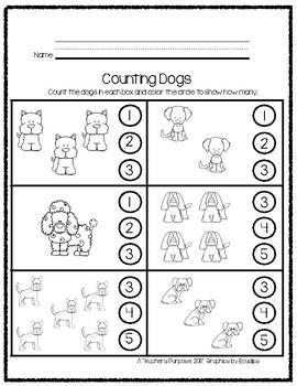 Kindergarten Math Print and Go. Dog Theme