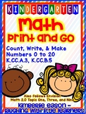 Kindergarten Math Print and Go - Numbers 0-20 (Envision Ma