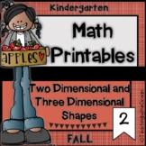 Kindergarten Math Printables - Two and Three Dimensional Shapes