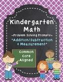 Kindergarten Math Problem Solving Prompts - Part 4/4 - Add, Subtract, & Measure