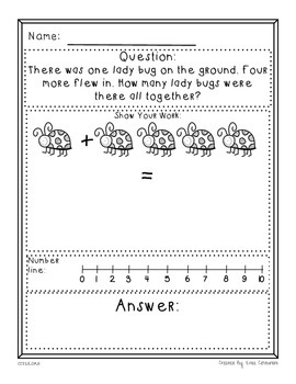 Kindergarten Math Problem Solving Prompts - Part 4/4 - Add, Subtract, & Measure