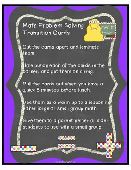 Kindergarten Math Problem Solving Transition Cards
