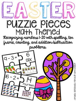 Kindergarten Math Puzzle Pieces Numbers 1-20 - Easter Themed