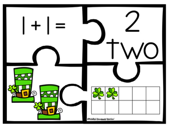 Kindergarten Math Puzzle Pieces Numbers 1-20 - St. Patrick's Day Themed
