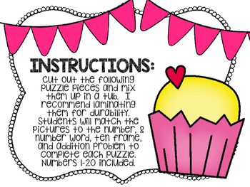 Kindergarten Math Puzzle Pieces Numbers 1-20 - Valentine's Day Themed