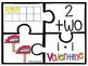 Kindergarten Math Puzzle Pieces Numbers 1-20 - Valentine's