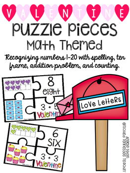 Kindergarten Math Puzzle Pieces Numbers 1-20 - Valentine's
