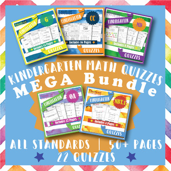 Kindergarten Math Quizzes: Kindergarten Common Core Math Quiz MEGA Bundle
