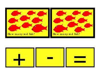 Kindergarten Math RED Fish How Many Addition Numbers To 10 Printable Cards 3p