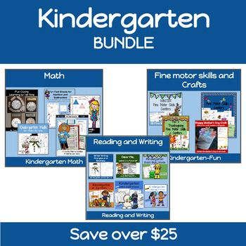Kindergarten Math, Reading, Writing, and Craft BUNDLE