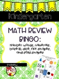 Kindergarten Math Review Bingo