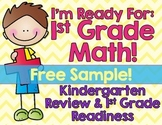 Kindergarten Math Review: First Grade Back to School FREE SAMPLE