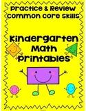 Kindergarten Math Review Printables