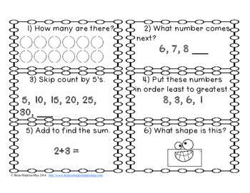 Kindergarten Math Review Task Cards