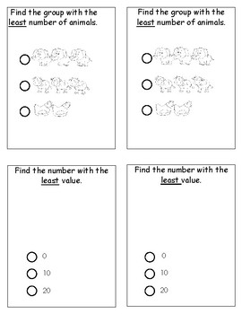Kindergarten Math Review & Test Prep; multiple choice journal prompts