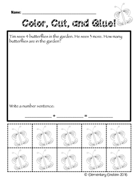 Kindergarten Math SPRING Word Problems NO PREP
