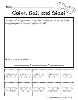 Kindergarten Math SUMMER Word Problems NO PREP