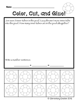 Kindergarten Math SUMMER Word Problems NO PREP