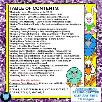Kindergarten Math - Skills for April and May - Plus Free Spring Clip Art