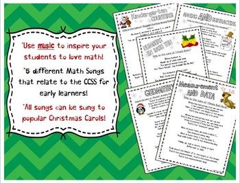 Kindergarten Math Song Lyrics Sung to Christmas Carols (Common Core Aligned)
