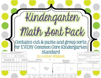 Kindergarten Math Sort Pack (Allinged with Common Core)