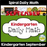 Kindergarten Math Spiral Review SEPTEMBER Morning Work or Warm ups