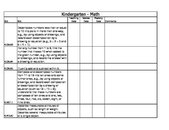 Kindergarten Math Standards Tracking Guide